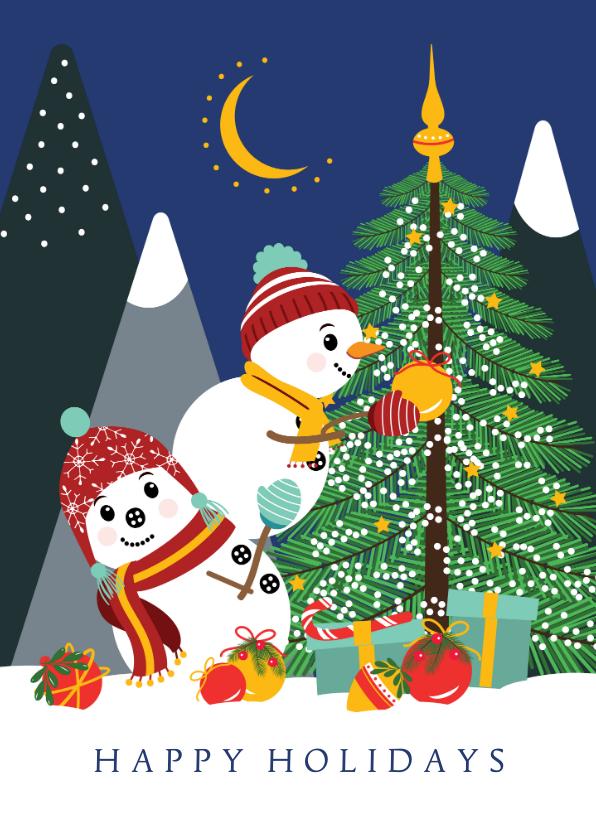 Kerstkaarten - Twee vrolijke sneeuwpoppen versieren de kerstboom