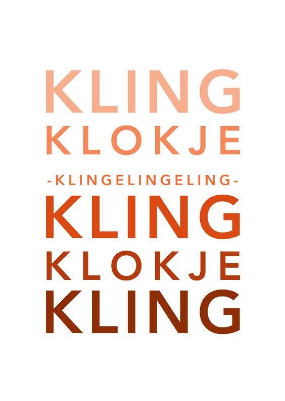 Kerstkaarten - Typografie kling klokje - DH