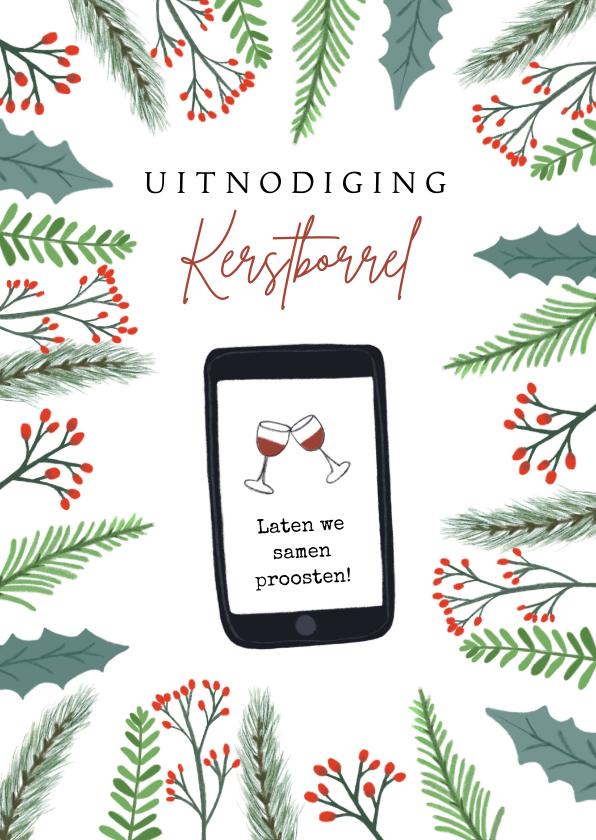 Kerstkaarten - Uitnodiging kerstborrel digitaal