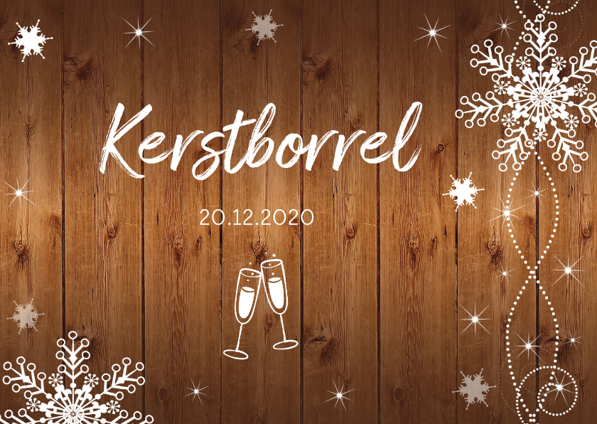 Kerstkaarten - Uitnodiging kerstborrel houtprint