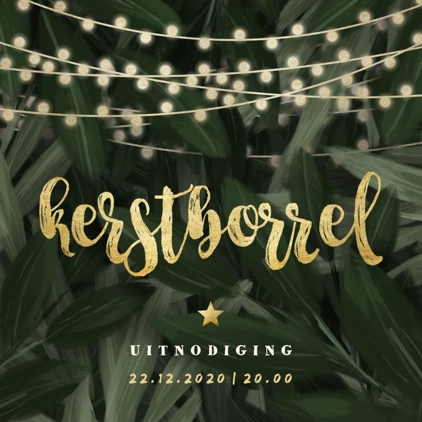 Kerstkaarten - Uitnodiging kerstborrel jungle bladeren met lampjes