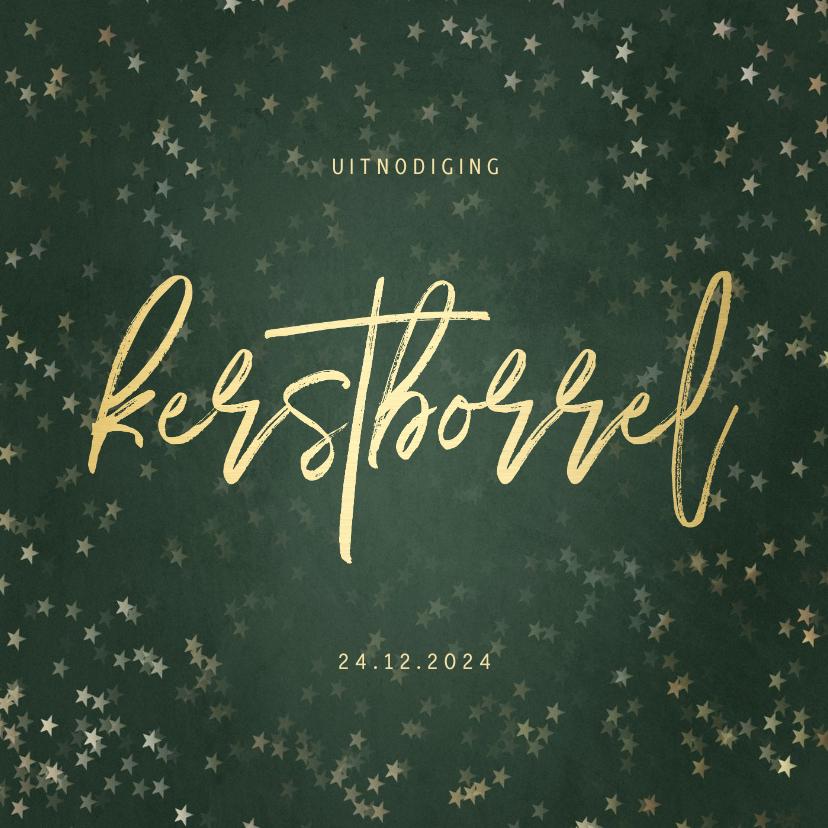 Kerstkaarten - Uitnodiging kerstborrel met sterren en gouden tekst