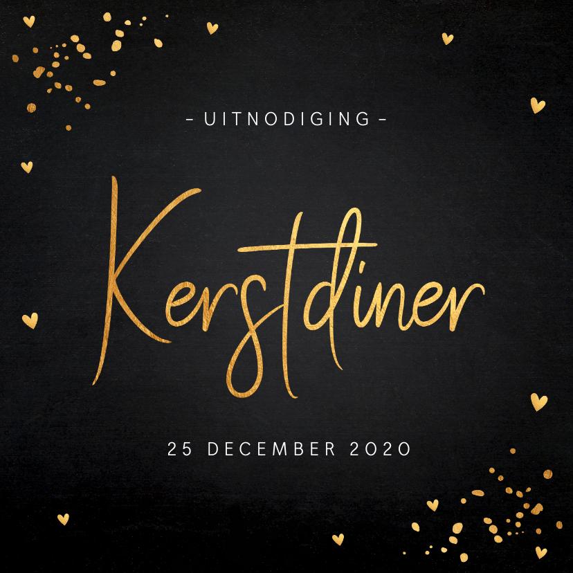Kerstkaarten - Uitnodiging kerstdiner gouden confetti krijtbord