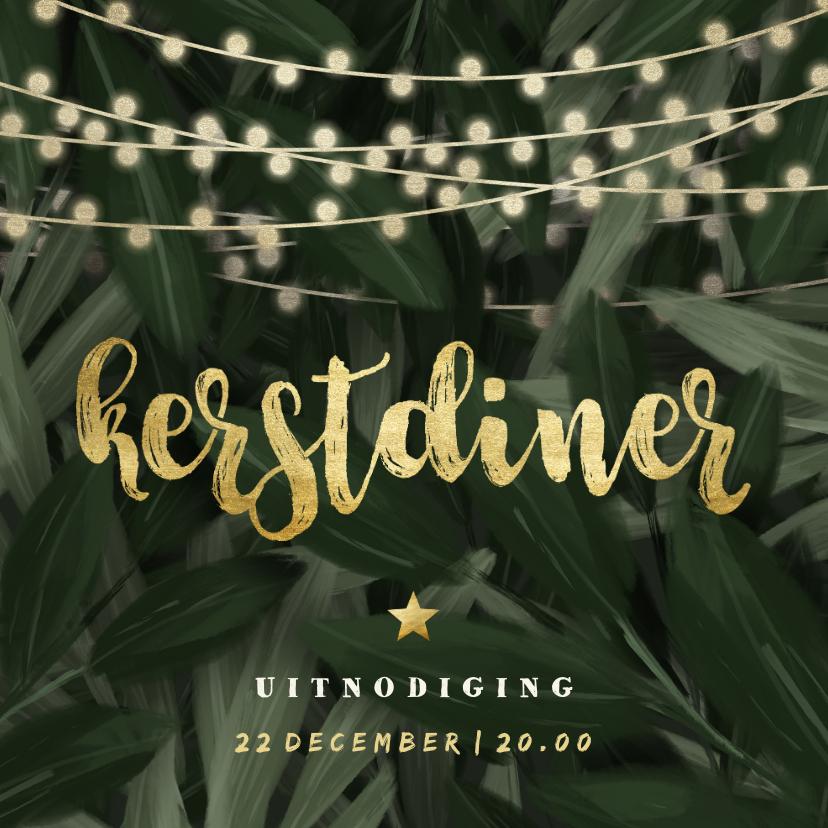 Kerstkaarten - Uitnodiging kerstdiner jungle bladeren met lampjes