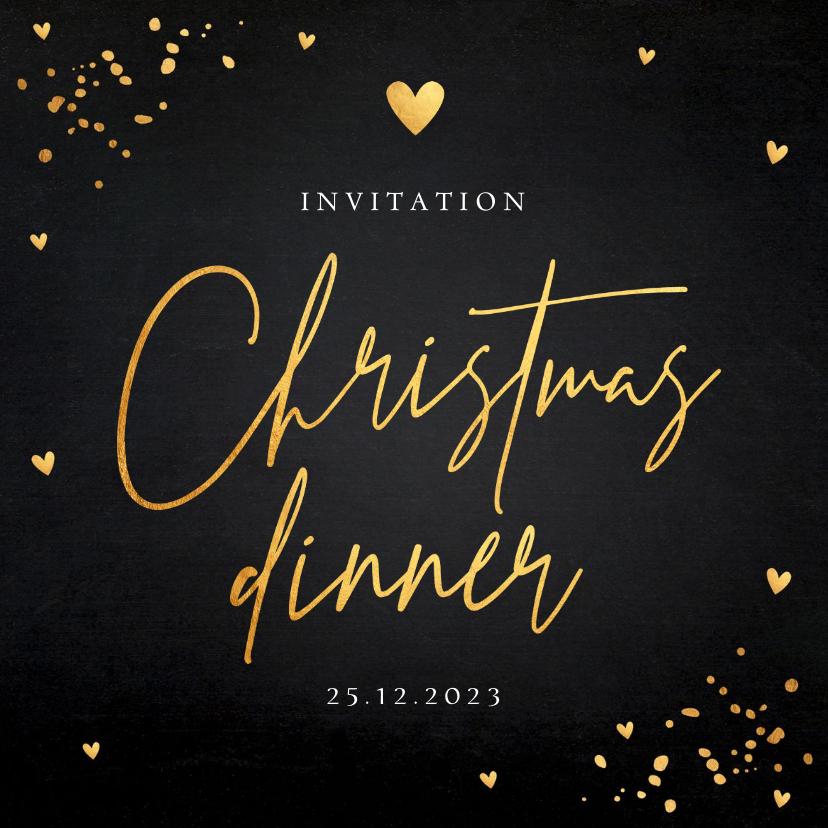 Kerstkaarten - Uitnodiging kerstdiner zwart goudlook confetti