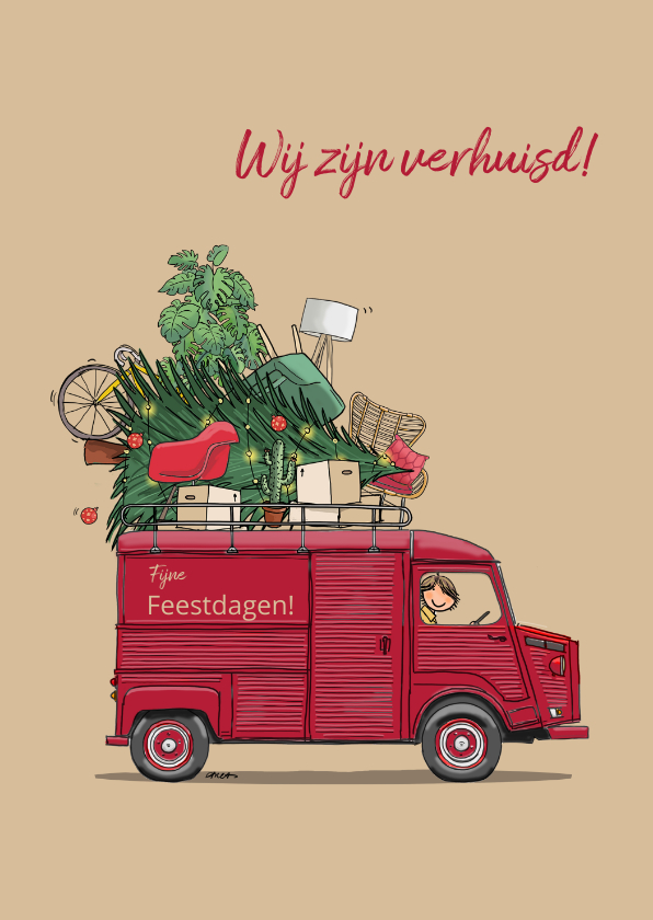 Kerstkaarten - Verhuis kerstkaart HY rood