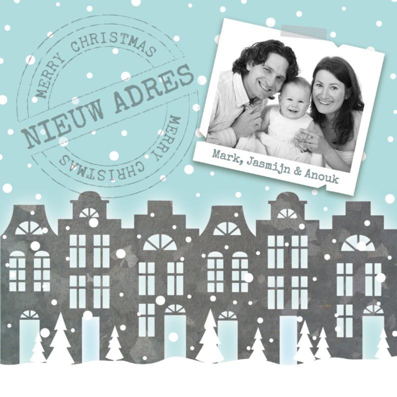 Kerstkaarten - Verhuiskaart kerst huisjes sneeuw foto