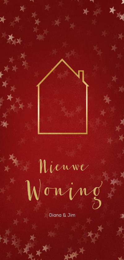 Kerstkaarten - Verhuiskaart kerst langwerpig met huisje - Een gouden kerst