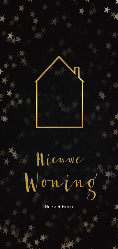 Kerstkaarten -  Verhuiskaart kerst langwerpig zwart met huis van goud