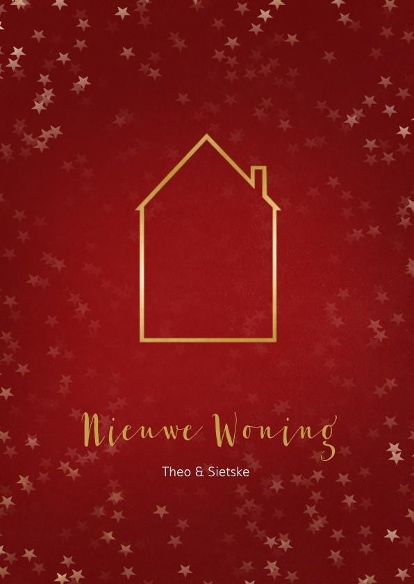 Kerstkaarten - Verhuiskaart kerst staand met huisje goud - Een gouden kerst