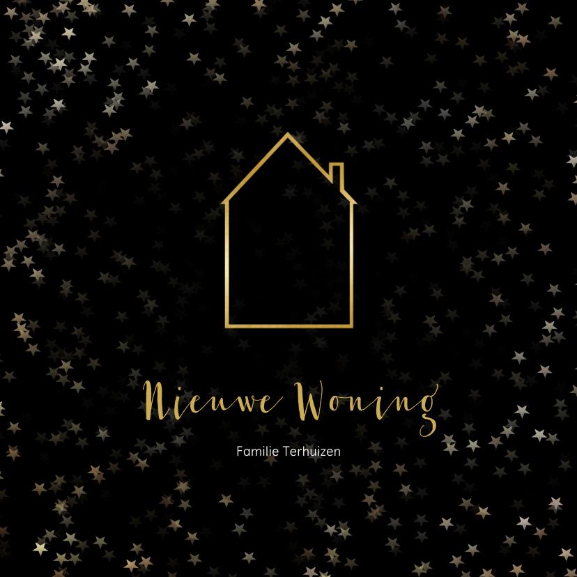 Kerstkaarten - Verhuiskaart kerst zwart huis van goud - Een gouden kerst