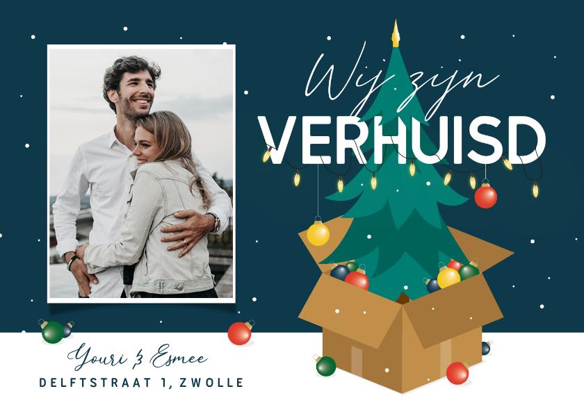 Kerstkaarten - Verhuiskaart kerstboom kerstballen winter sneeuw kerst