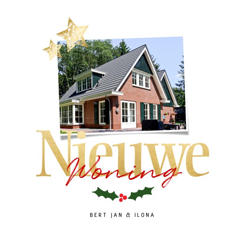 Kerstkaarten - Verhuiskaart nieuwe woning voor 2 foto's - een gouden kerst