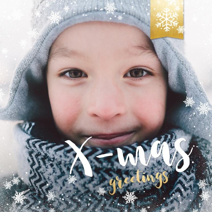 Kerstkaarten - Vierkante kerstkaart met grote foto en rand met sneeuw