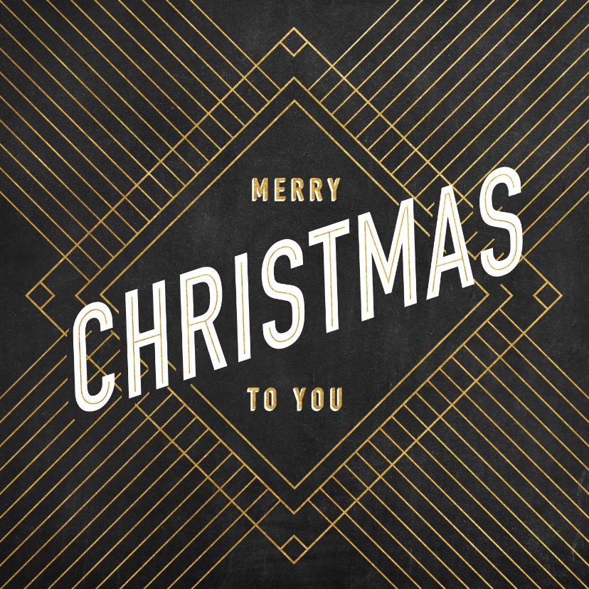 Kerstkaarten - Vintage kerstkaart gouden patroon en typografie