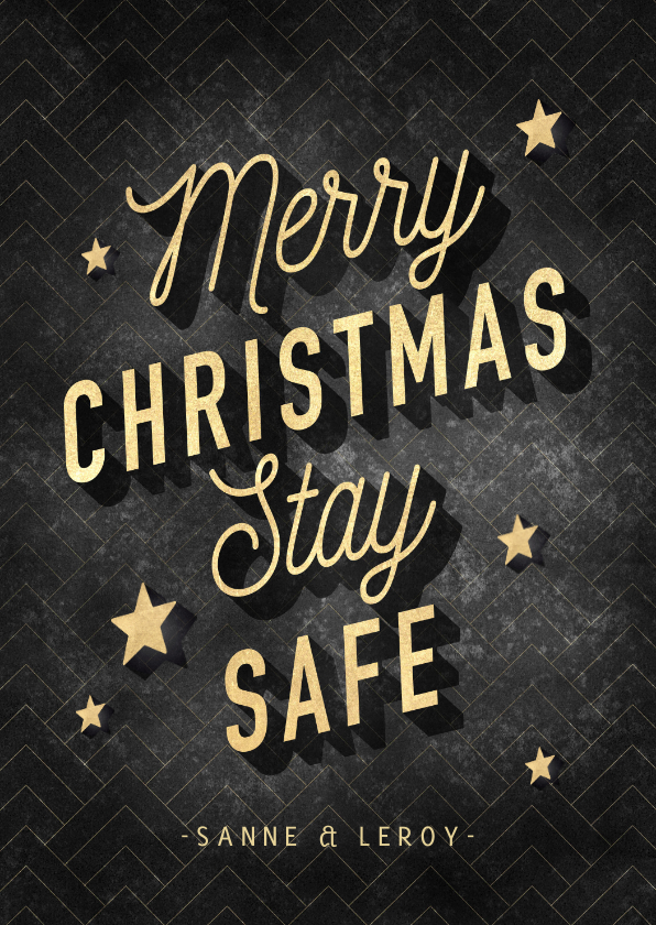 Kerstkaarten - Vintage kerstkaart Merry Christmas Stay Safe, goud en zwart