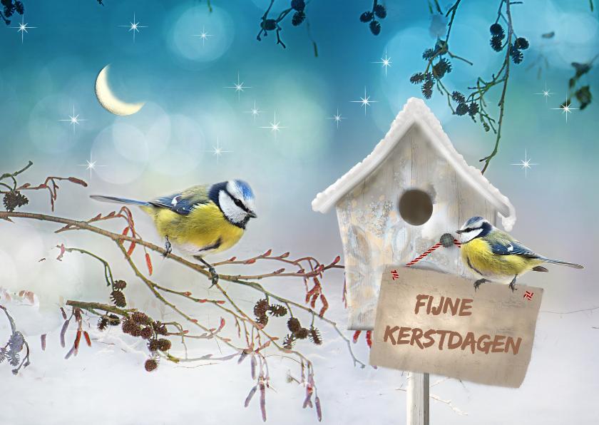 Kerstkaarten - Vogelhuisje in de sneeuw -liggend-
