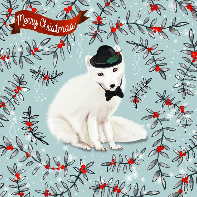 Kerstkaarten - Vosje met bolhoed kerstkaart