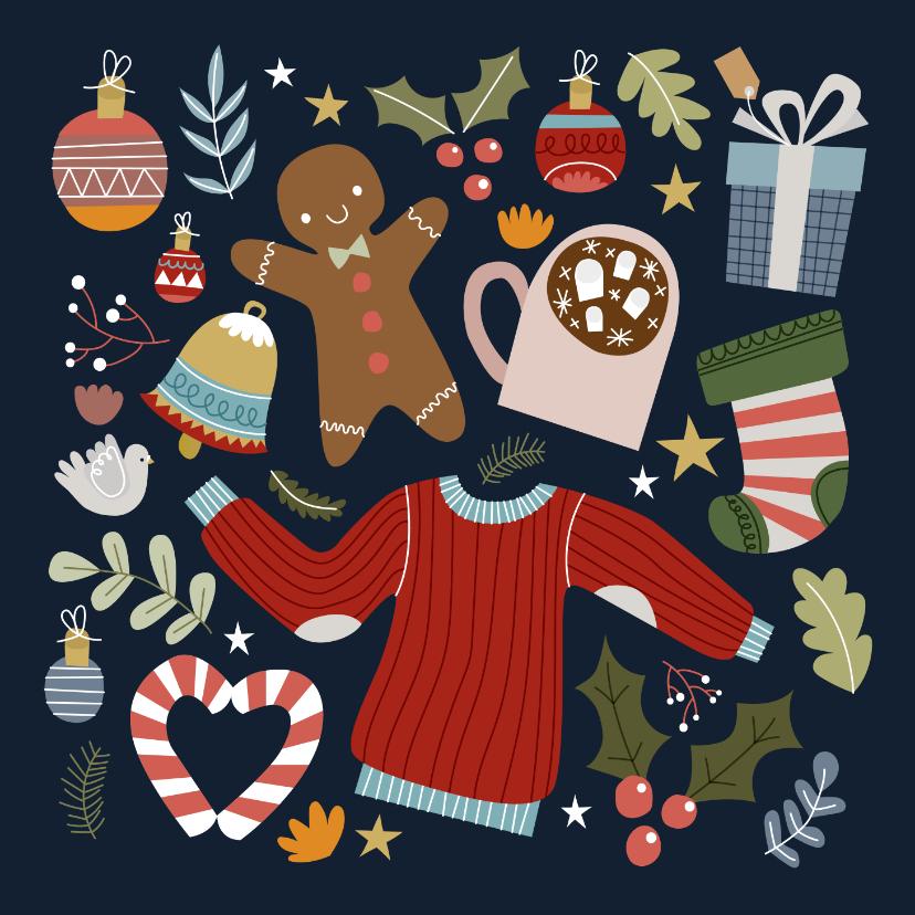 Kerstkaarten - Vrolijke en hippe kerstkaart met kerst illustraties