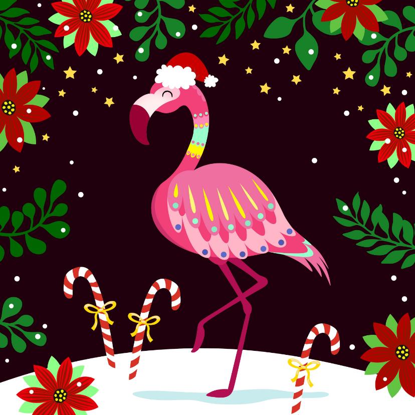 Kerstkaarten - Vrolijke en kleurrijke kerstkaart met flamingo in de sneeuw