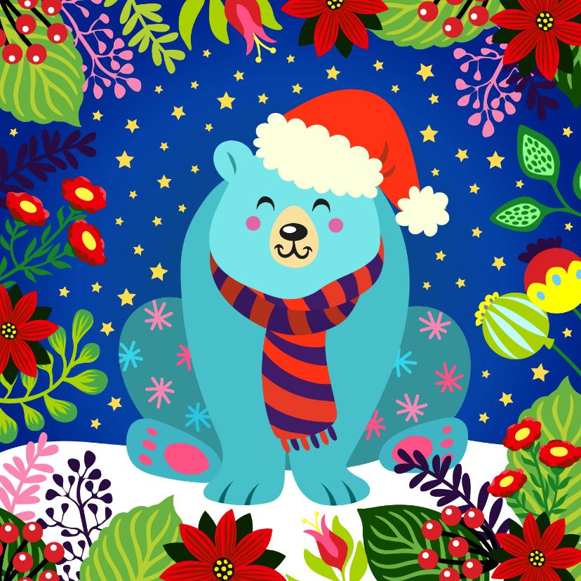 Kerstkaarten - Vrolijke en kleurrijke kerstkaart met ijsbeer en bloemen