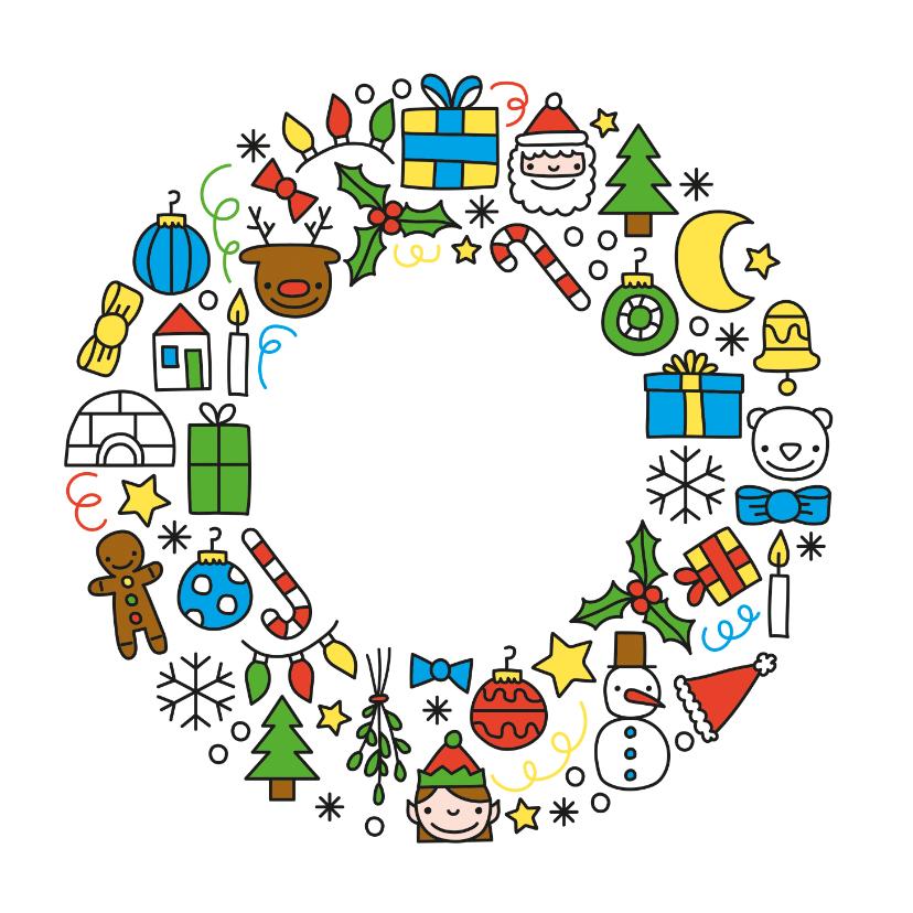 Kerstkaarten - Vrolijke kerst doodles krans kerstkaart