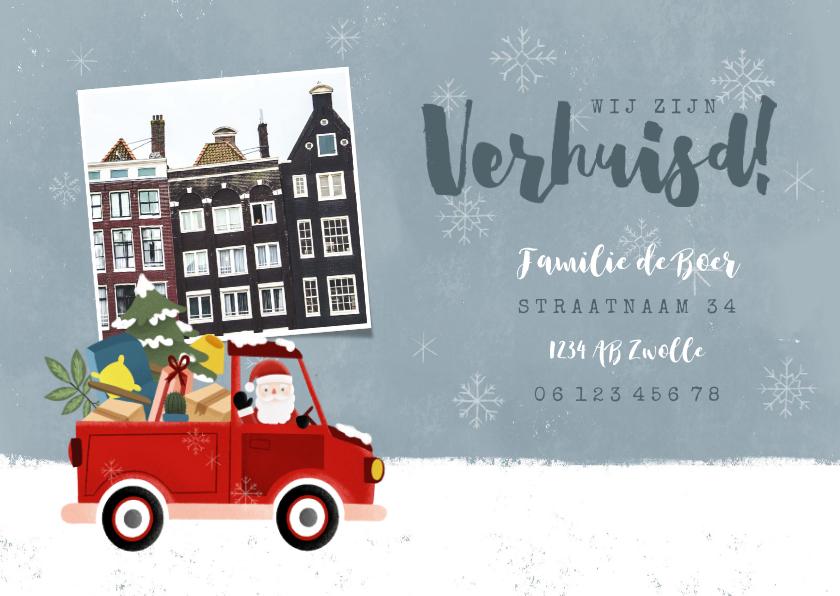 Kerstkaarten - Vrolijke kerst-verhuiskaart kerstman in pickup en foto