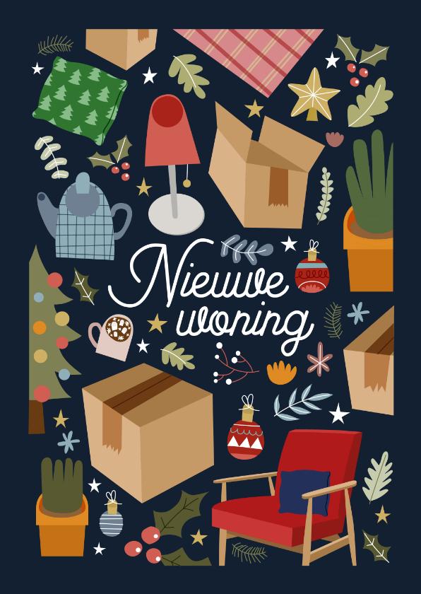 Kerstkaarten - Vrolijke kerst-verhuiskaart met illustraties