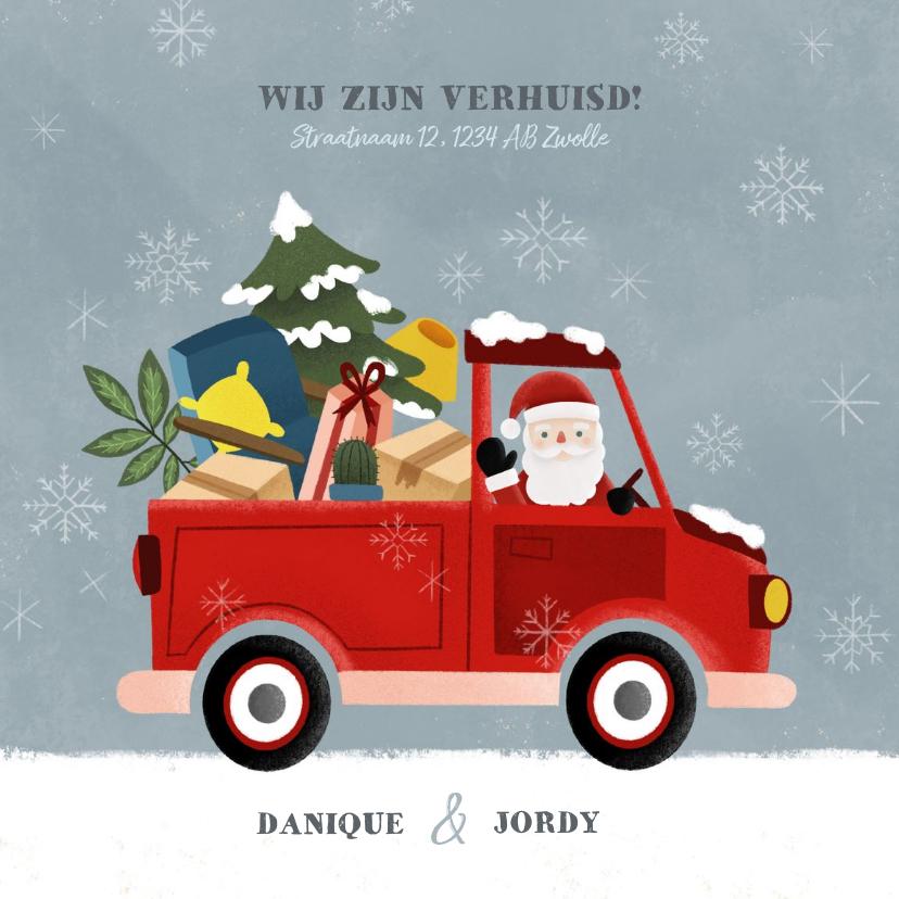 Kerstkaarten - Vrolijke kerst verhuiskaart pickup truck kerstman en sneeuw