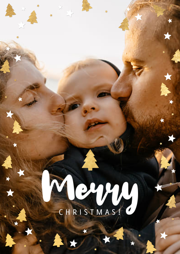 Kerstkaarten - Vrolijke kerstkaart grote foto, kerstbomen & Merry Christmas