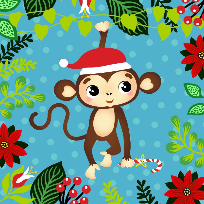 Kerstkaarten - Vrolijke kerstkaart met aapje in de jungle