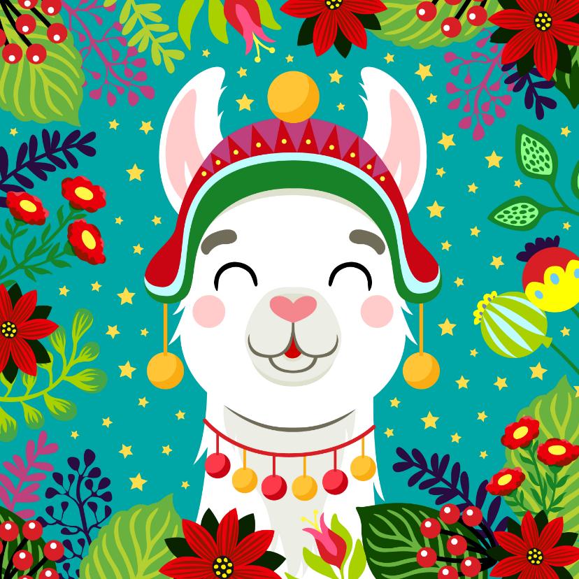 Kerstkaarten - Vrolijke kerstkaart met alpaca, bloemen en sterren
