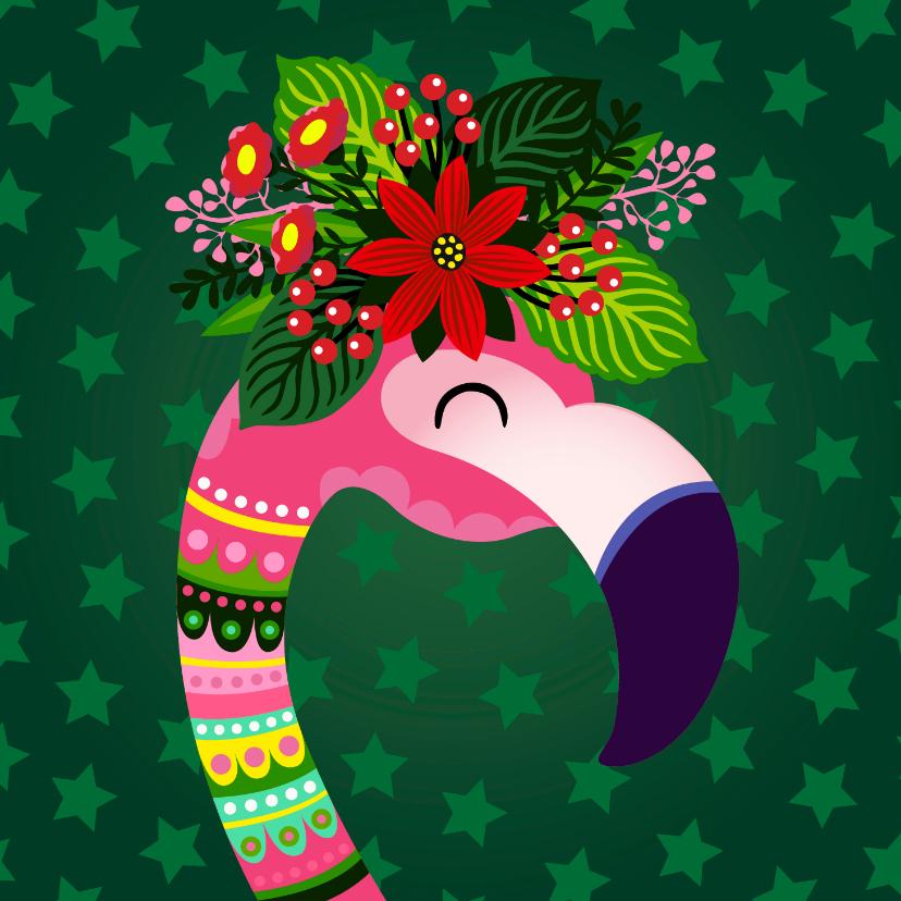 Kerstkaarten - Vrolijke kerstkaart met flamingo, bloemen en planten