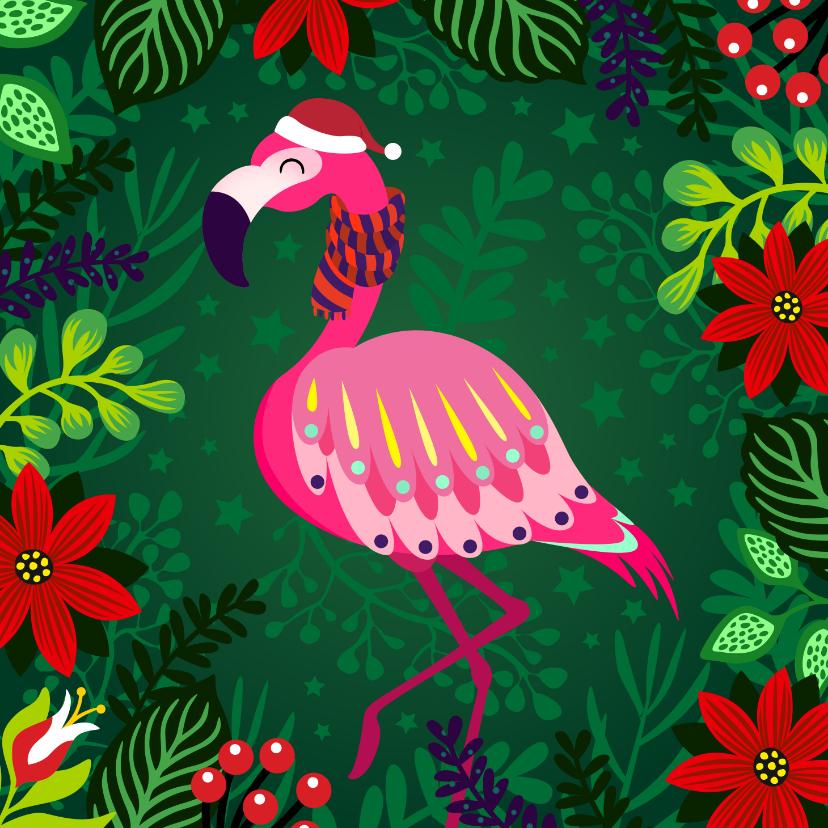 Kerstkaarten - Vrolijke kerstkaart met flamingo met sjaal