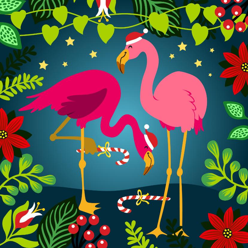 Kerstkaarten - Vrolijke kerstkaart met flamingo's