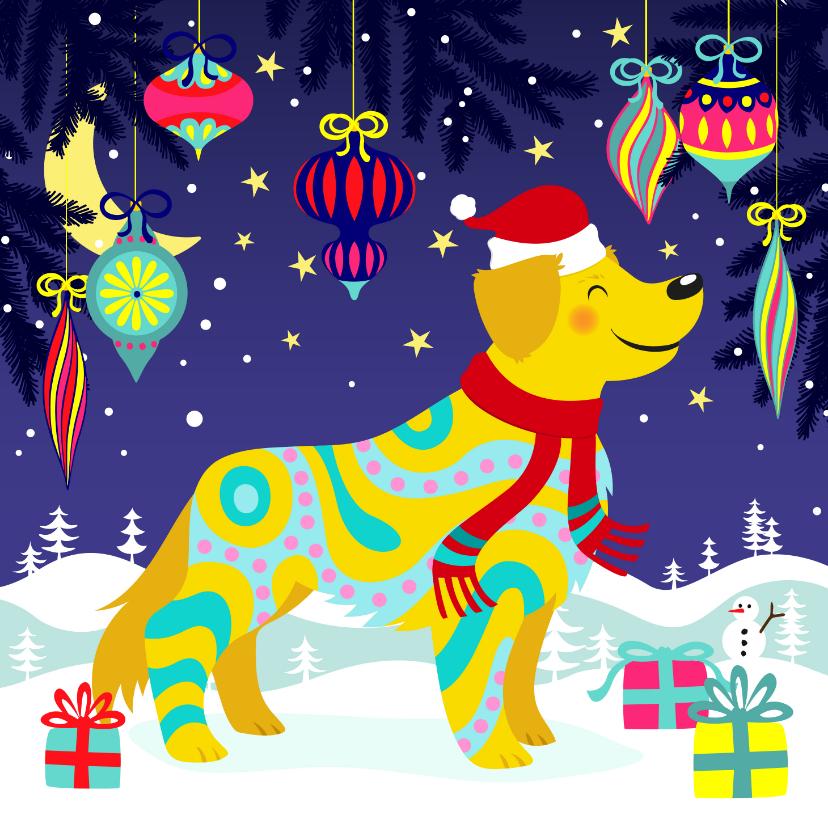 Kerstkaarten - Vrolijke kerstkaart met hond en sneeuwvlokken