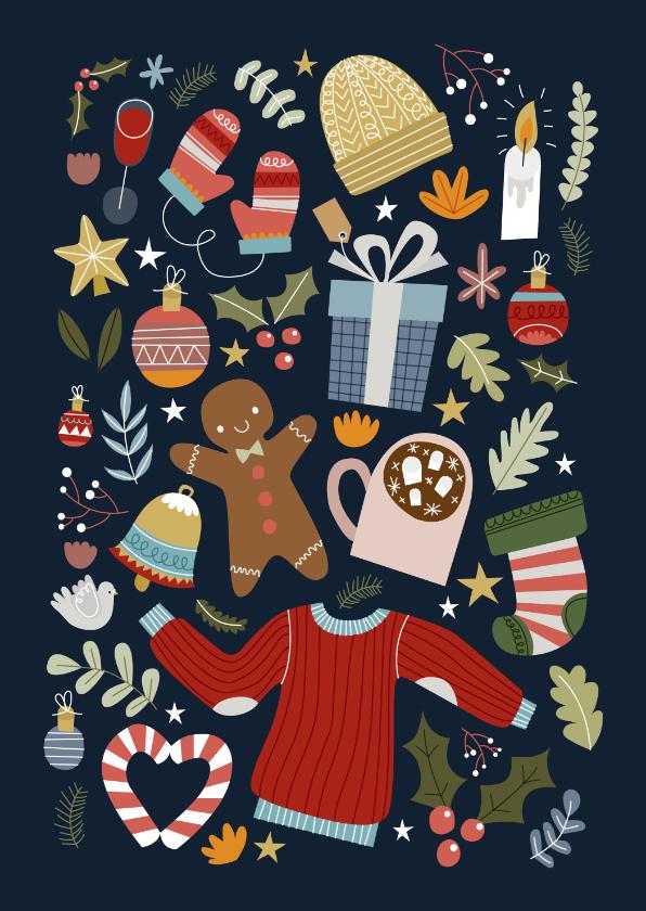 Kerstkaarten - Vrolijke kerstkaart met kerst illustraties