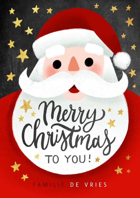 Kerstkaarten - Vrolijke kerstkaart met kerstman, Merry Christmas en sterren