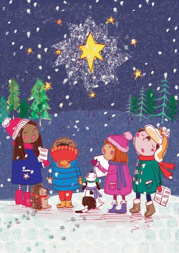 Kerstkaarten - Vrolijke kerstkaart met kinderen in de sneeuw en kerstster.