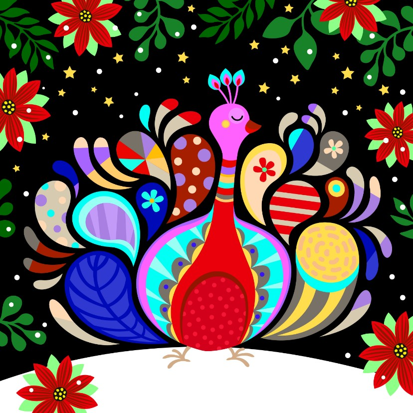 Kerstkaarten - Vrolijke kerstkaart met kleurrijke pauw en kerststerren