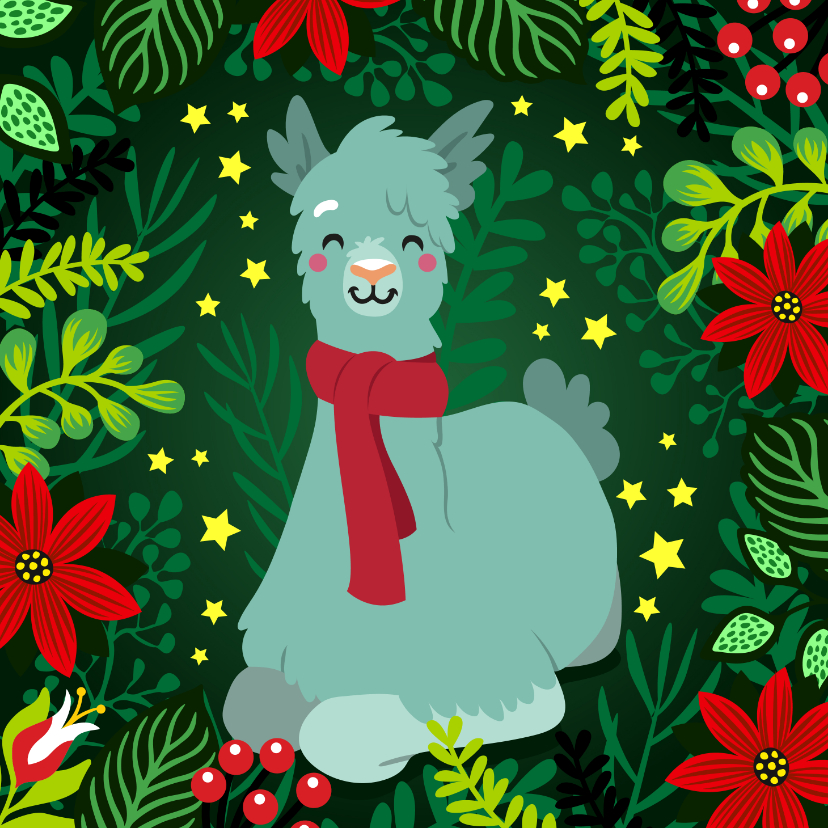 Kerstkaarten - Vrolijke kerstkaart met lama met sjaal, bloemen en planten