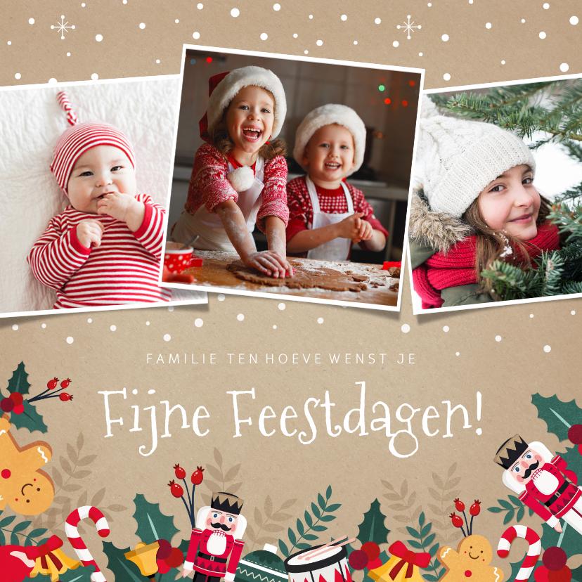 Kerstkaarten - Vrolijke kerstkaart met notenkraker, hulst en eigen foto's