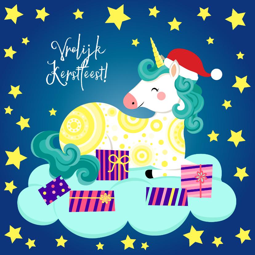 Kerstkaarten - Vrolijke kerstkaart met unicorn op een wolk