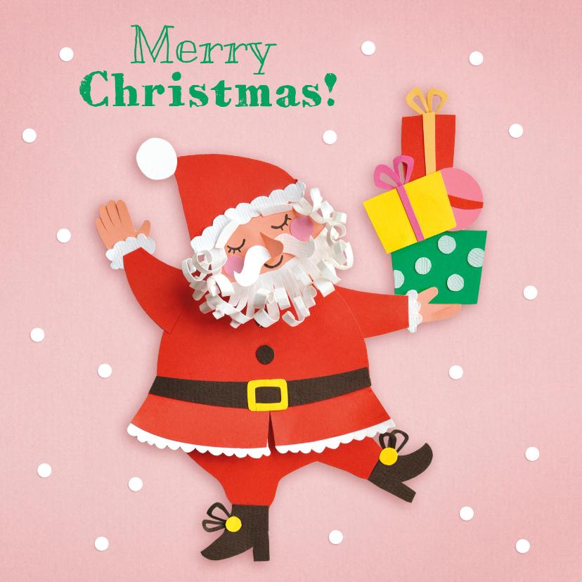 Kerstkaarten - Vrolijke kerstman met cadeautjes
