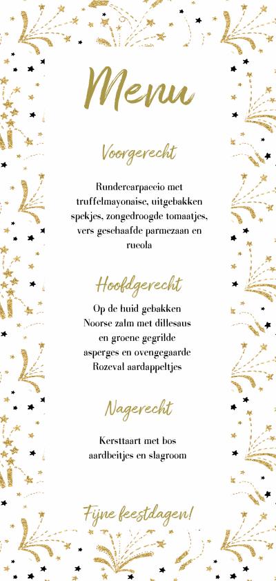 Kerstkaarten - Vuurwerk goud kerst menukaart langwerpig