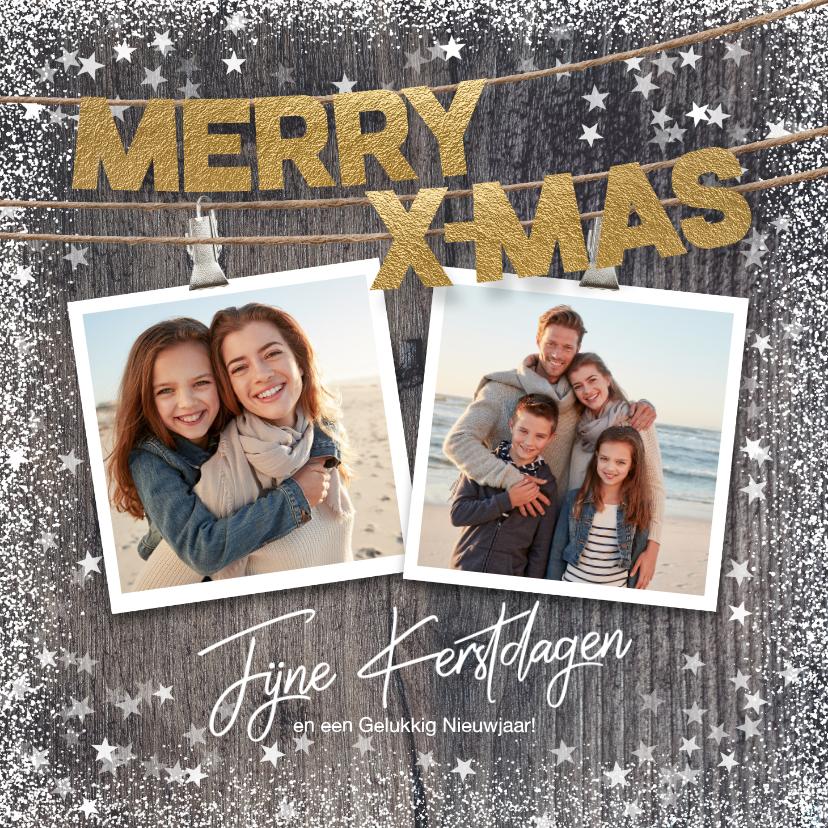 Kerstkaarten - Warme kerstkaart met foto's op hout