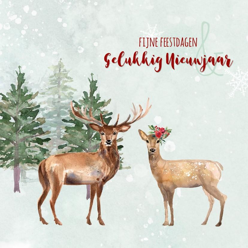 Kerstkaarten - Waterverf kerstkaart met herten in winterlandschap