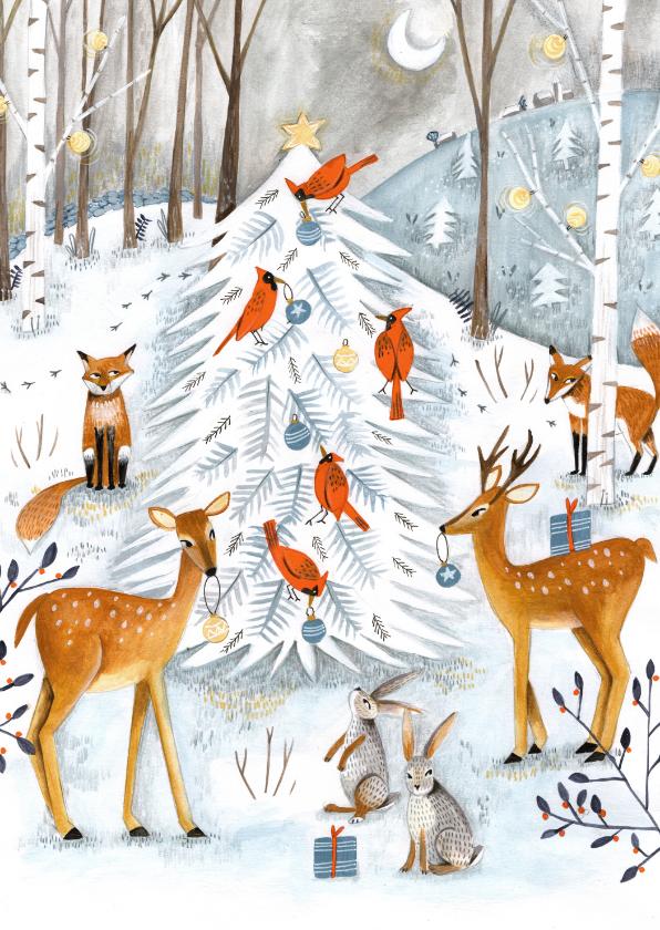 Kerstkaarten - Winter wonderland dieren illustratie
