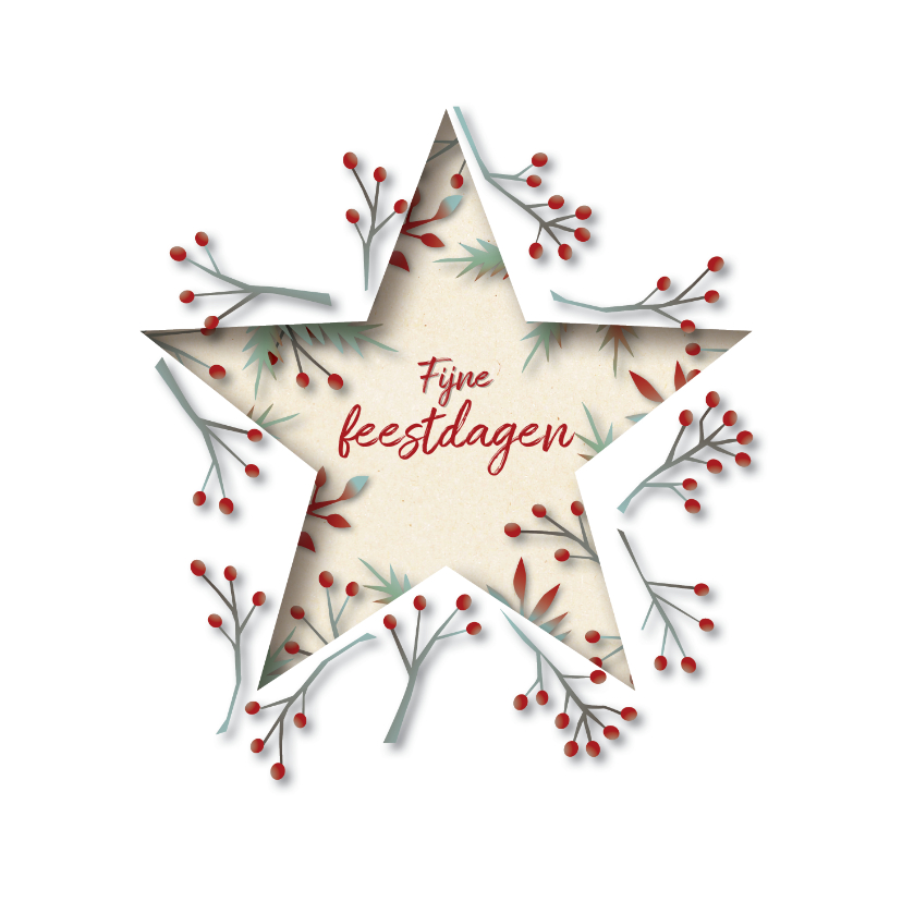 Kerstkaarten - Winterblaadjes kerst