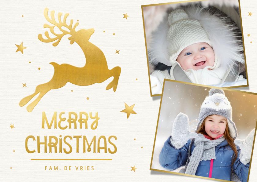 Kerstkaarten - Winterse kerstkaart met gouden rendier en eigen foto's